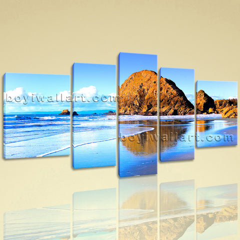Extra Large Nature Landscape Beac Hbeach Hd Print Canvas Art Pentaptych Panels