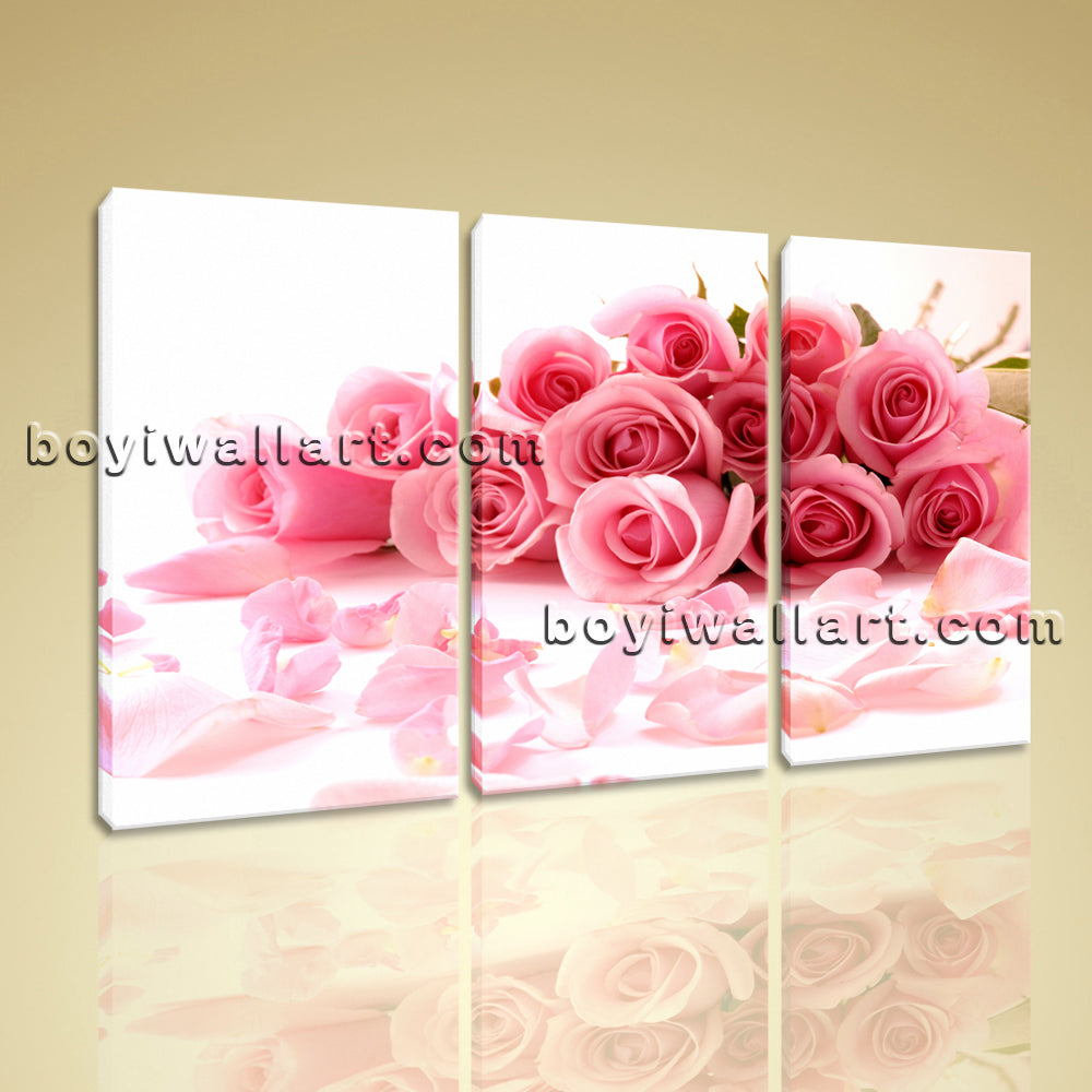Large White And Pink Rose Flowers Wall Art Painting Triptych Panels Canvas Print