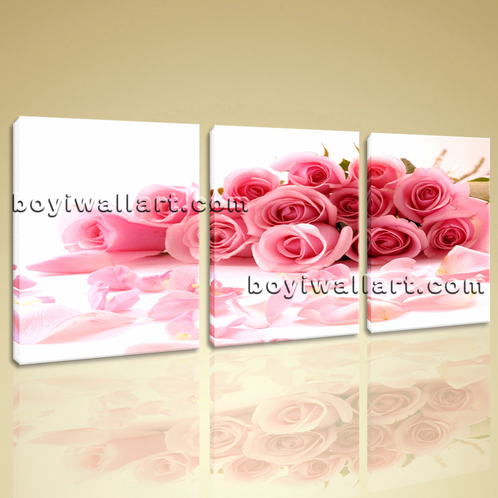 Large White And Pink Rose Flowers Painting Art Living Room 1 Pieces Print