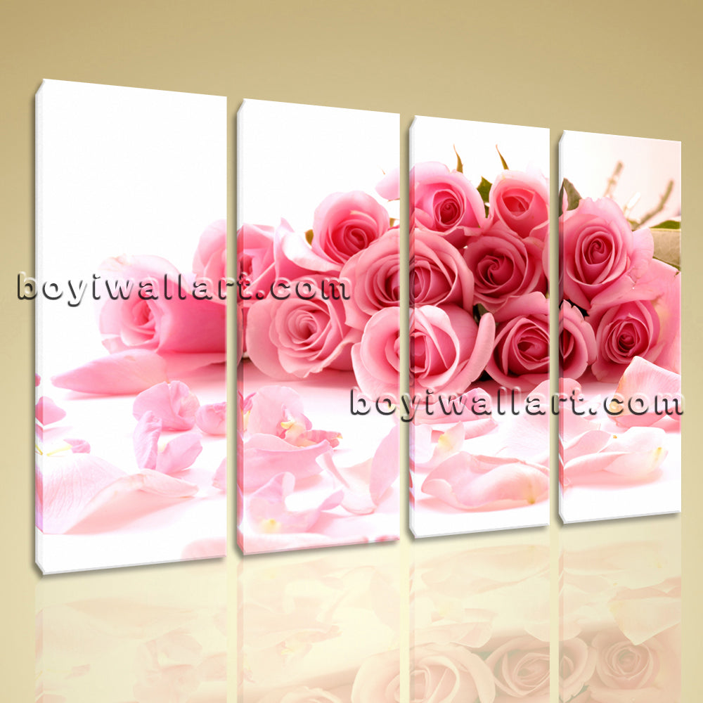 Large White And Pink Rose Flowers Painting Living Room Four Pieces Prints