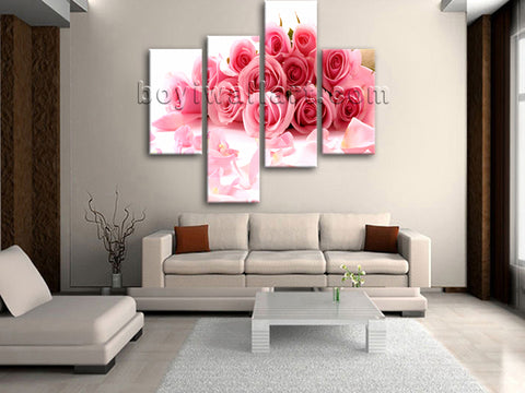 Large White And Pink Rose Flowers Hd Print Art Painting Bedroom 4 Panels