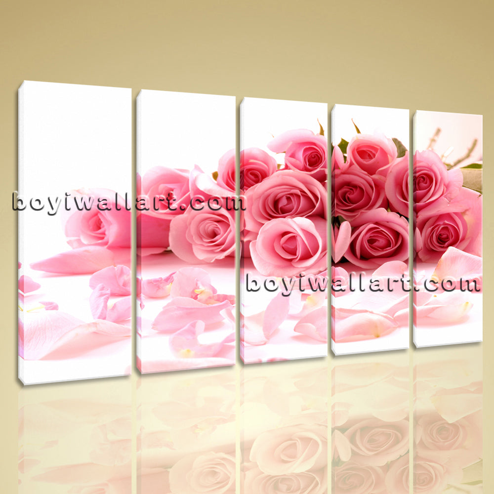 Large White And Pink Rose Flowers Print Painting Canvas Dining Room Five Pieces