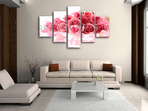 Large White And Pink Rose Flowers Painting Wall Decor Dining Room Art Print