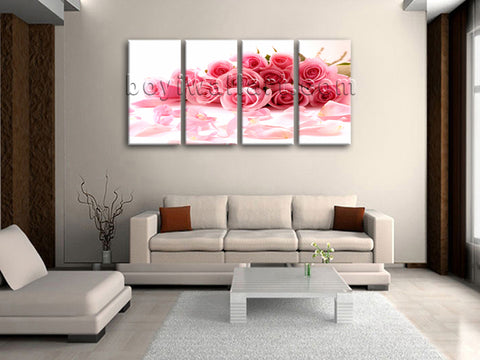 Large White And Pink Rose Flowers Wall Decor Painting Tetraptych Panels Prints