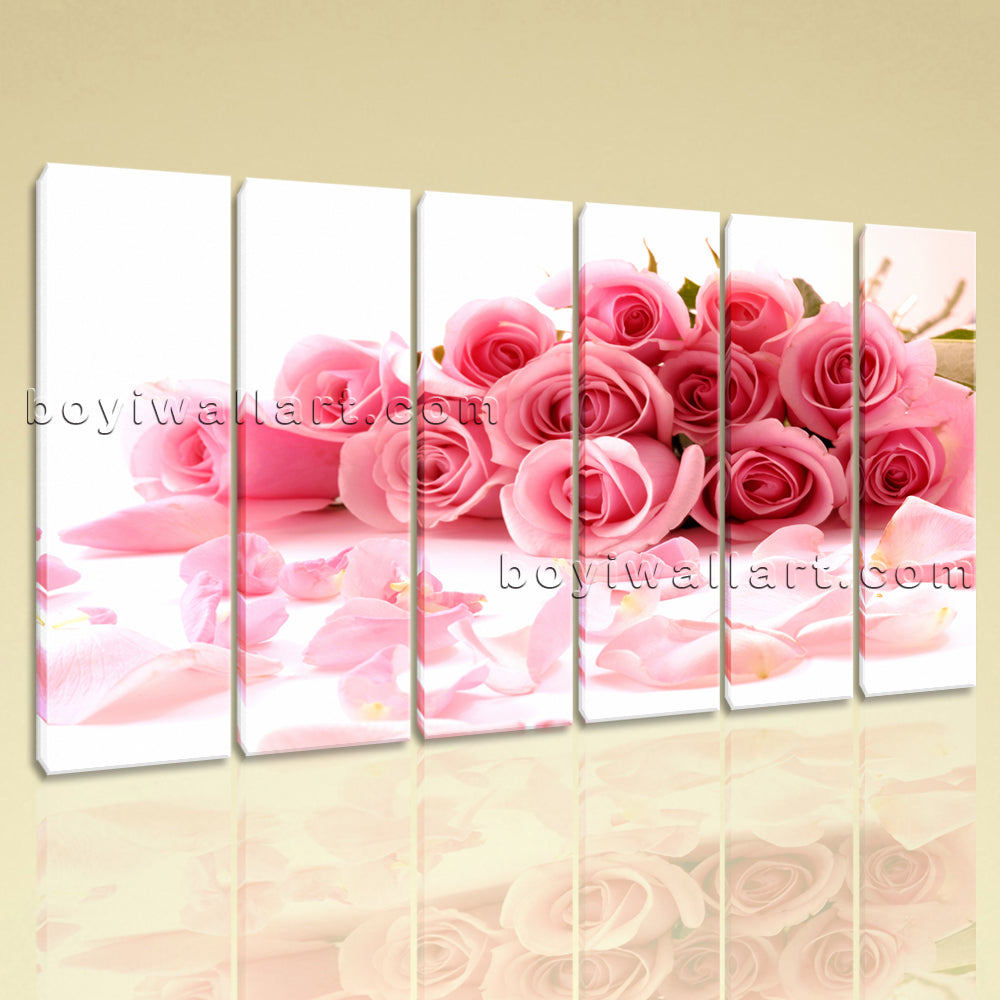 Large White And Pink Rose Flowers Canvas Art Painting Six Panels Print