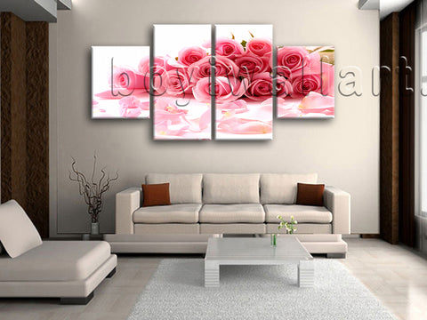Large White And Pink Rose Flowers Print Painting Dining Room 4 Pieces