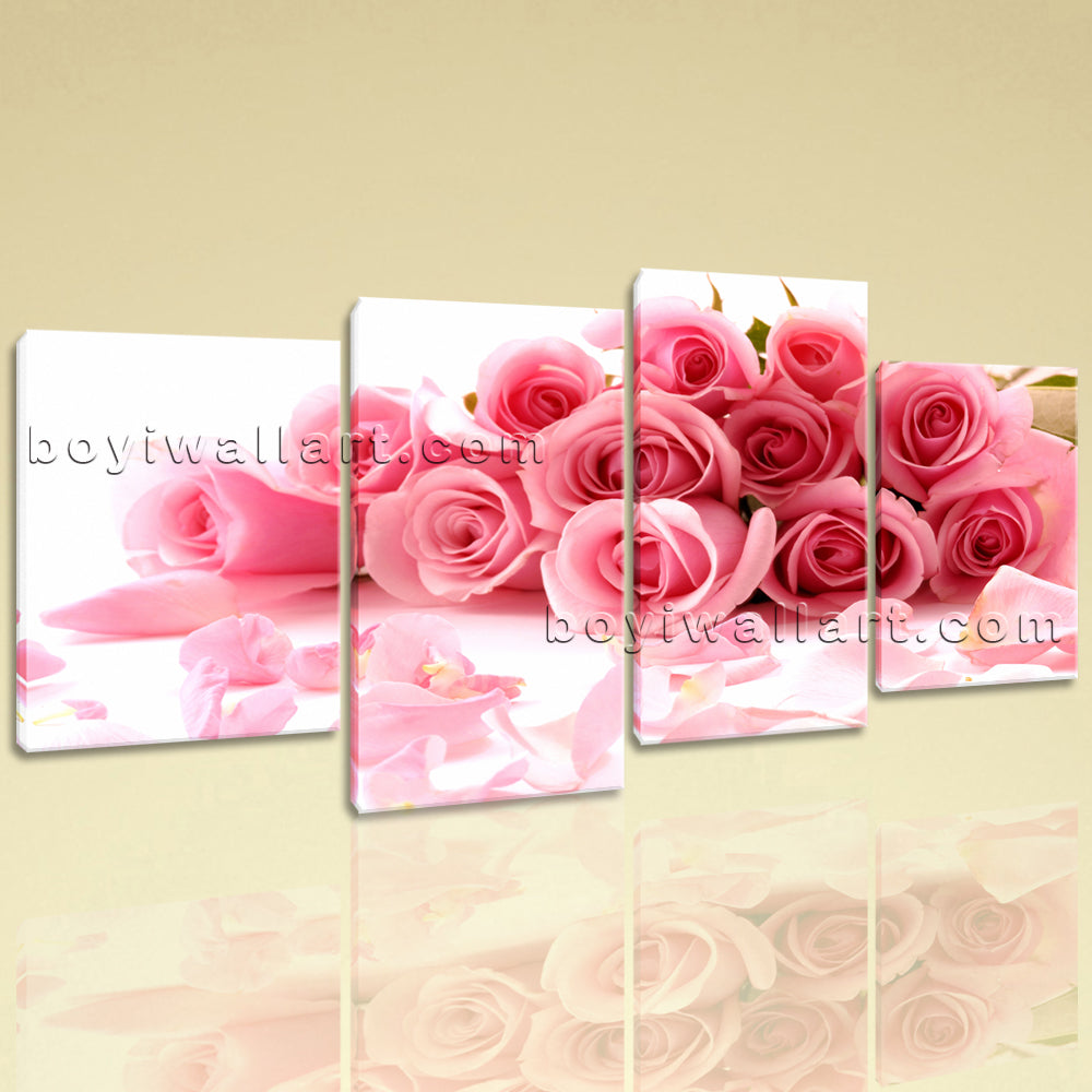 Large White And Pink Rose Flowers Hd Print Home Decor Living Room 4 Panels