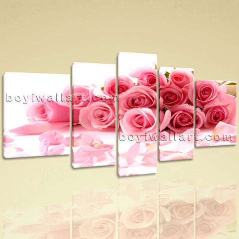 Extra Large White And Pink Rose Flowers Canvas Art Wall Decor Living Room Prints