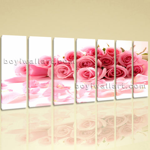Extra Large White And Pink Rose Flowers Print Oil Painting 7 Pieces Giclee