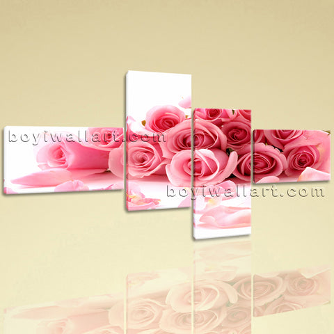 Extra Large White And Pink Rose Flowers Canvas Art Wall Decor Four Panels Print