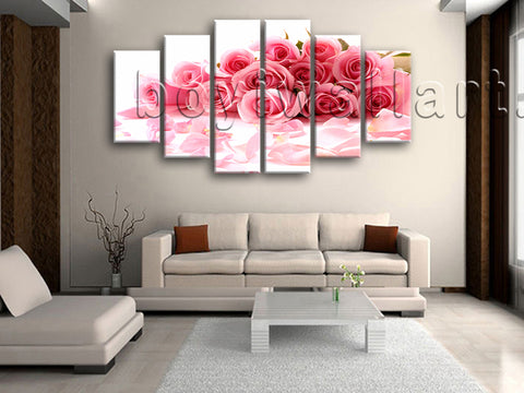Extra Large White And Pink Rose Flowers Wall Decor Painting Dining Room Print