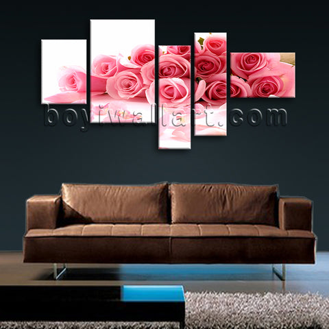 Extra Large White And Pink Rose Flowers Picture Wall Art Five Panels Print
