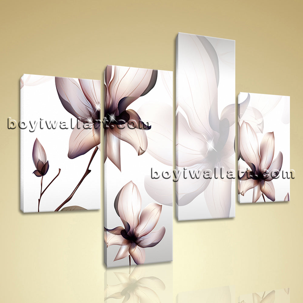 Large Mural Flower Wall Art Tulip Flowers Decor Painting Tetraptych Panels Print
