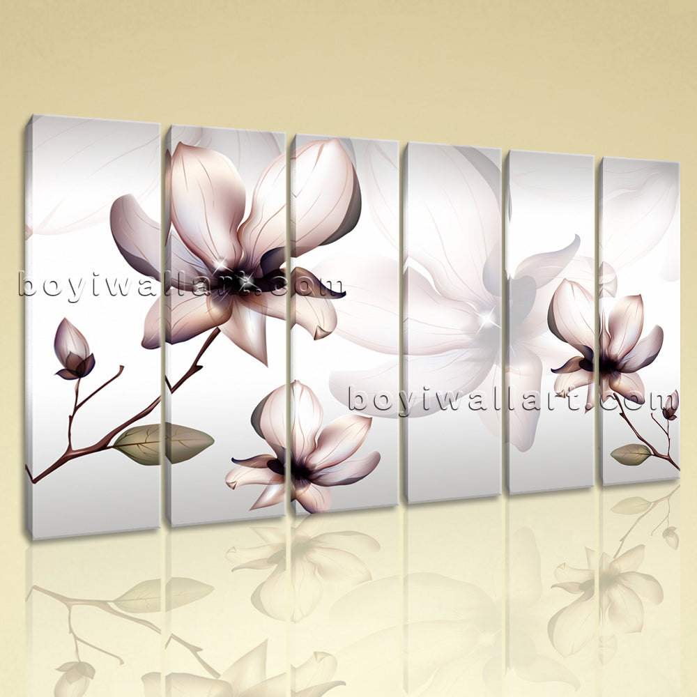 Large Living Room Mural Flower Wall Art Tulip Flowers Painting 6 Panels Print