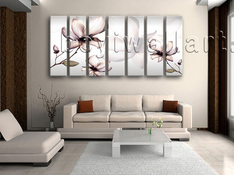 Extra Large Mural Flower Wall Art Tulip Flowers Painting 7 Pieces Prints