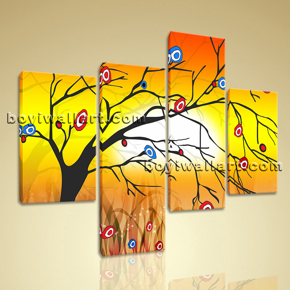 Large Modern Abstract Tree Painting Wall Art Bedroom Four Pieces ...