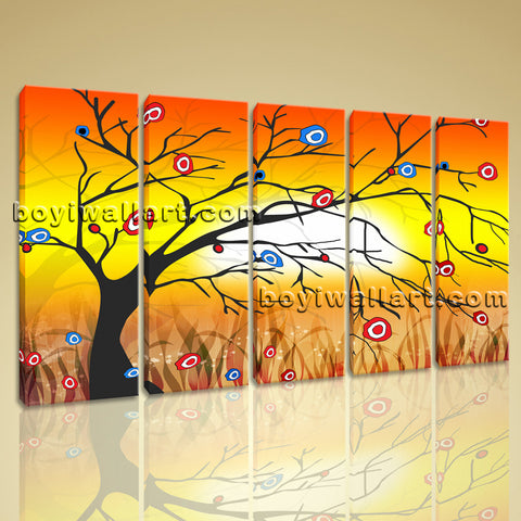 Large Modern Abstract Tree Wall Decor Painting Dining Room Five Pieces Prints