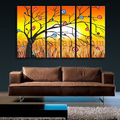 Large Modern Abstract Tree Wall Decor Living Room Six Pieces Art Print