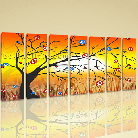 Extra Large Modern Abstract Tree Hd Print Art Painting Seven Panels Prints
