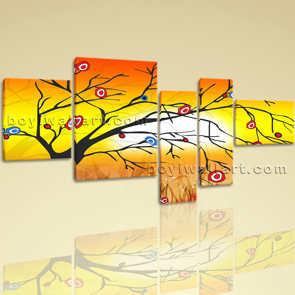 Extra Large Modern Abstract Tree Print Painting On Canvas Five Pieces Giclee