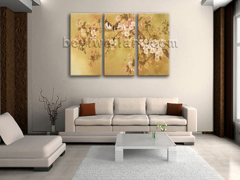 Large Tulips In Bloom Abstract Print Classic Home Decor Bedroom Triptych Pieces