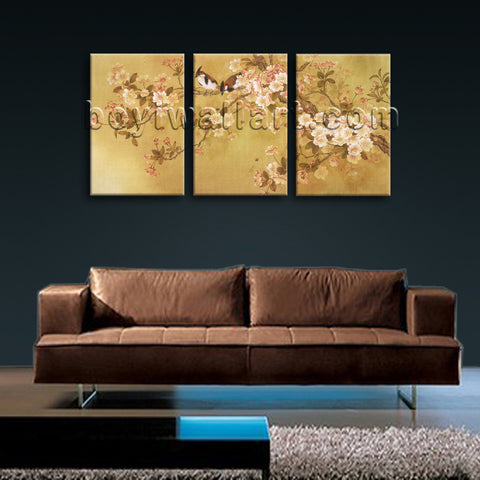 Large Tulips In Bloom Abstract Wall Art Classic Painting Triptych Panels Print