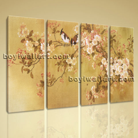 Large Tulips In Bloom Abstract Canvas Art Classic Wall Decor Four Panels Print