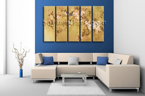Large Tulips In Bloom Abstract Wall Decor Classic Dining Room Five Pieces Prints