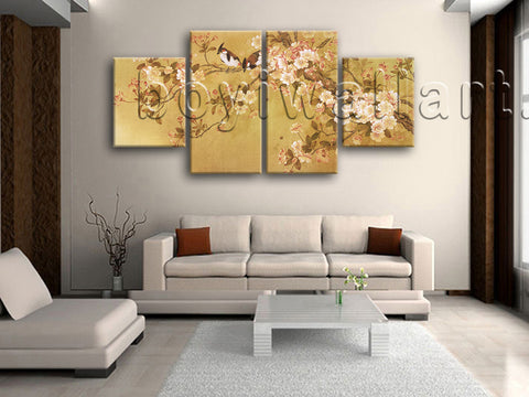 Large Tulips In Bloom Abstract Hd Print Classic Painting Dining Room Four Pieces