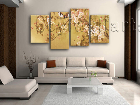 Large Tulips In Bloom Abstract Hd Print Classic Canvas Art Living Room 4 Panels