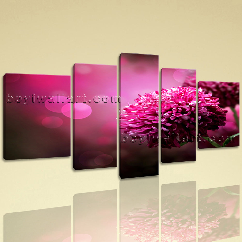 Extra Large Purple Daisy Flower Wall Art Contemporary Decor 5 Pieces Print