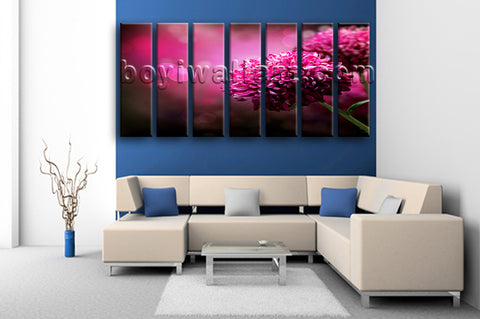 Extra Large Purple Daisy Flower Canvas Art Painting Living Room 7 Panels Print