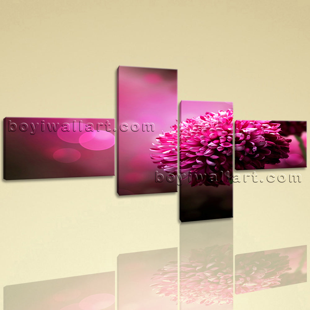 Extra Large Purple Daisy Flower Canvas Art Painting Bedroom 4 Pieces Print