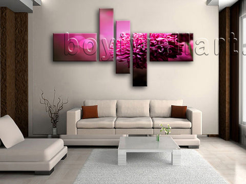 Huge Purple Daisy Flower Canvas Art Painting Living Room Five Pieces Prints