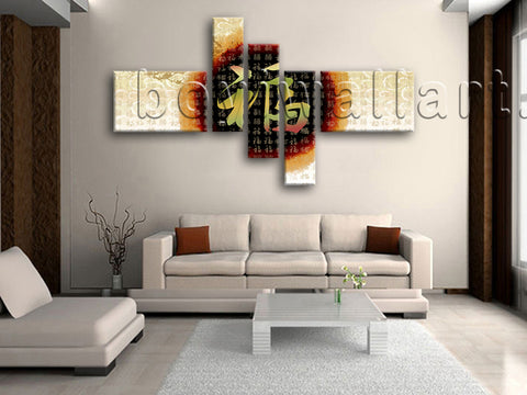 Huge Feng Shui Wall Art Abstract Modern Painting On Canvas Five Panels Prints