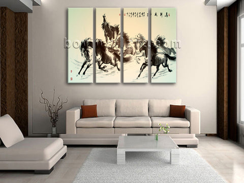 Large Horse Painting Hd Print Classic Living Room Four Panels
