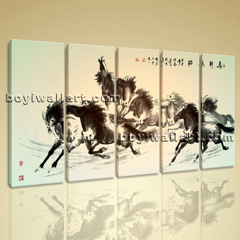 Large Horse Painting Wall Art Classic Home Decor Dining Room Print