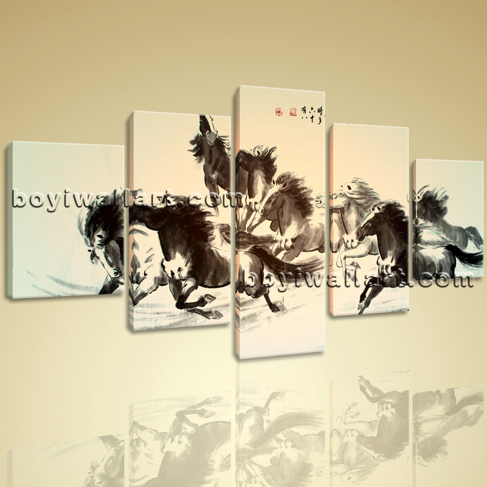 Large Horse Painting Hd Print Classic Wall Art Dining Room 5 Pieces