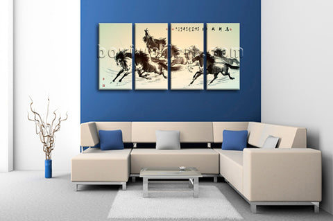 Large Horse Painting Wall Decor Classic Canvas Art Tetraptych Panels Print