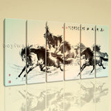 Large Horse Painting Canvas Art Classic On Living Room Six Panels Prints