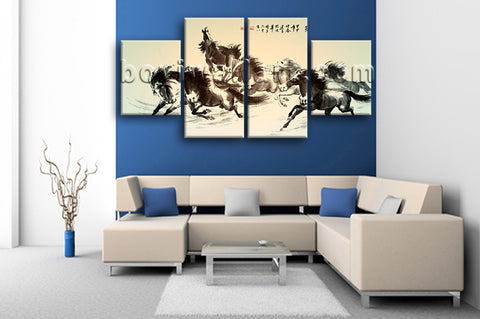 Large Horse Painting Picture Classic Home Decor Dining Room Four Panels Print