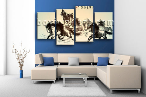 Large Horse Painting Picture Classic Art Living Room 4 Panels Print