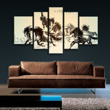 Extra Large Horse Painting Picture Classic Wall Art 5 Pieces Canvas Print