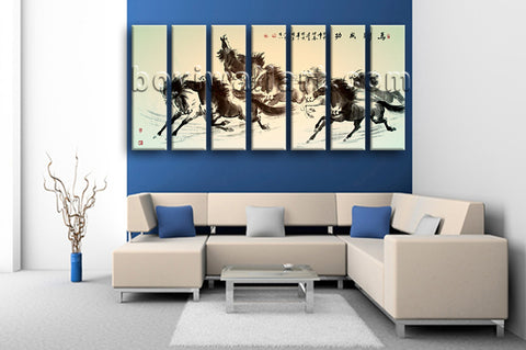 Extra Large Horse Painting Wall Decor Classic Canvas Art 7 Pieces Prints