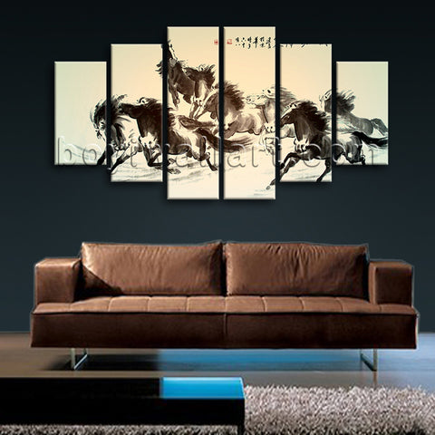 Extra Large Horse Painting Print Classic Oil Dining Room 6 Panels Canvas
