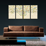 Large Carta Da Parati Tree Hd Print Abstract Painting Bedroom 4 Pieces