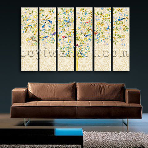Large Carta Da Parati Tree Picture Abstract Painting 6 Panels Canvas Print