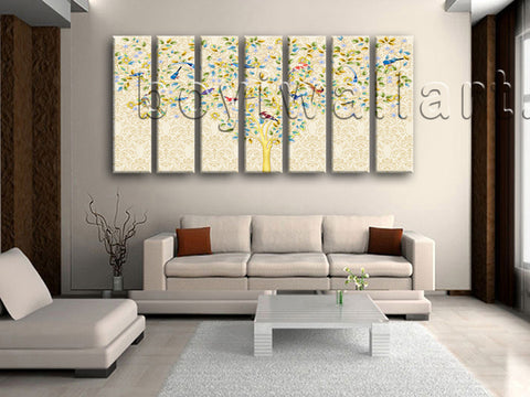 Extra Large Carta Da Parati Tree Wall Art Abstract Canvas Seven Pieces Print