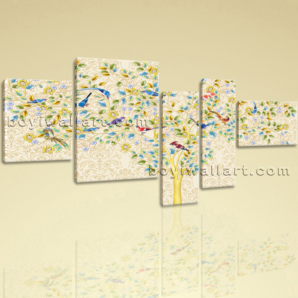 Extra Large Carta Da Parati Tree Picture Abstract Painting Five Panels Print
