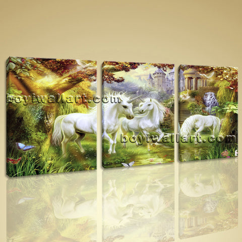 Large Unicorn Horse Picture Classic Wall Decor Three Pieces Canvas Print